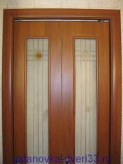 Дверь-книжка со специальным механизмом (прямая коробка, рельсы, колесики). Установка дверей во Владимире.