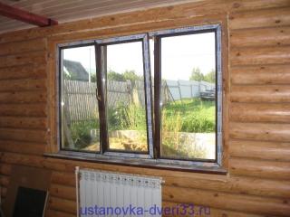 Окно перед установкой откосов. Установка дверей во Владимире и области.