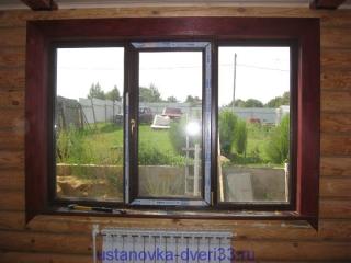 Вид окна с сустановленными верхним и боковыми наличниками. Установка дверей во Владимире и области.