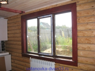 Вид окна с установленными откосами. Установка дверей во Владимире и области.